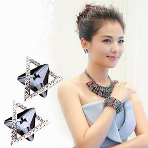 925 Sterling Silver 3D solide triangle géométrie Stud boucles d'oreilles pour les femmes diamant choix grandes boucles d'oreilles bijoux brincos