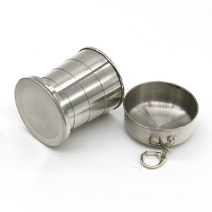 New Folding Cup 240ml Stainless Steel Portable Outdoor Travel Camping Folding Collapsible mugs Metal Telescopic Keychain Mugs