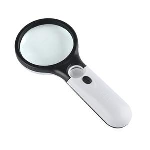 Forma de raqueta Lupa Lente doble con luz LED Gafas de lectura Manija de plástico Lupa de mano Blanco Negro 6 7lc B