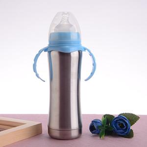 Çocuklar kupalar A05 için yalıtılmış biberon süt şişesi 8oz kulplu paslanmaz çelik bebek biberon