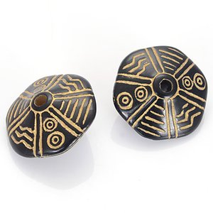 New Arrival 50 Pcs Lot Vintage Inspired Ethnic Acrylic Antique Style Design Disc Spacer Beads For Diy Bracelet Jewelry Making