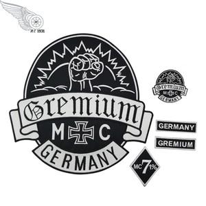 GREMIUM Alemania Parches Bordados Parche Completo para Chaqueta de Hierro En Ropa Biker Chaleco Parche Rocker