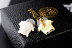 jiangyu Yüksek Kalite ünlü tasarım kadın mektup elmas küpe moda Metal Altın kafa küpe Takı kutusu ile