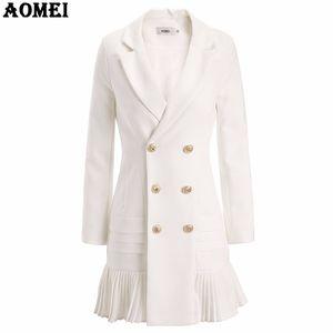 Новая мода костюм Женщины Блейзер Workwear белый с рюшами Офис Дамы Длинные Blaser Одежда Осень Золотая кнопка весна зима Вверх