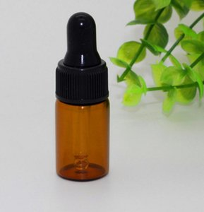 Wholesale 1ml 2ml 3ml Small Amber glass dropper bottles Empty Essential oil Vial With Black cap