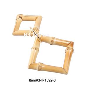DIY ropa hecha a mano zapatos bolsas accesorios adorno forma cuadrada bambú madera cremallera tire colgante