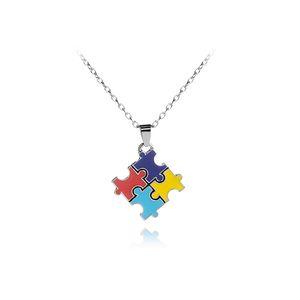 Puzzle de sensibilisation à l'autisme Cross Classic Square Coloré Émail Rouge Bleu Puzzle Pendentif correspondant Collier Autistique Unisexe Bijoux