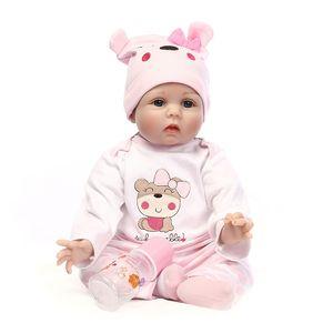 """55 cm Silicone Vinyl Reborn Baby Doll Brinquedos Lifelike Pano Macio 22 """"bebês Recém-nascidos Boneca Reborn Presente de Aniversário"""
