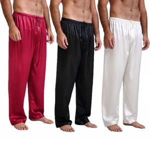 2018 Men Silk Satin Pigiama Pigiama Lounge Confortevole Pantaloni Allentati Bottom Sleepwear Nero Blu Rosso