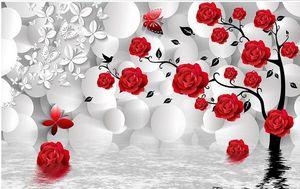 Custom Photo Wallpaper 3D estéreo original 3d fondo de la esfera árbol de la rosa reflexión TV fondo de la pared Wall Mural Wall Paper Painting