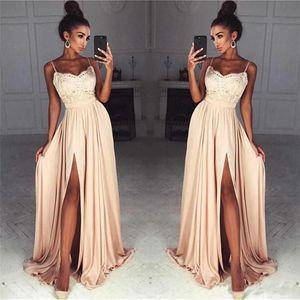 Impresionante Champagne Lace Chiffon Prom Dresses Sexy Front Slit Espagueti Straps Party largo Vestido de noche 2018 Vestidos de fiesta Vestidos