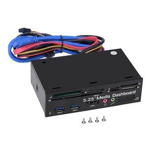 Freeshipping 5.25inch PC multifunzione Media Dashboard USB3.0 e-SATA Audio SIM / SMART Multi Card Reader per case del computer Unità ottiche