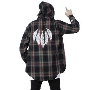 Цвет блока перо плед с длинным рукавом рубашки мужчины хип-хоп Casua кнопка вверх рубашки пальто мода уличная нас размер S-XL