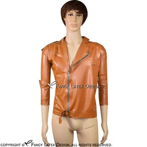 Bronze Sexy Short Latex jaqueta com zíper na Side Pocket Flap Turn Down gola do casaco de borracha Roupa Roupa Top YF-0073