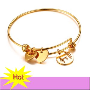 New Stainless Steel Women Bracelets Adjustable Charm Bracelet High Quality Gold Plated With Heart Charms Bracelet For Women