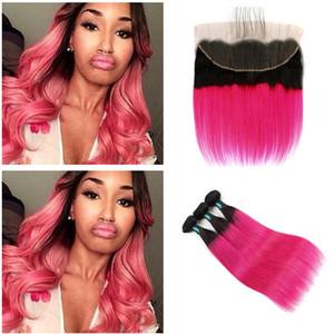 Розовый красный ломбер волосы кружева фронтальная закрытие два тона 1B Красный бразильские волосы кружева фронтальная закрытие шелковистая прямая наращивание волос