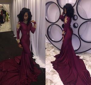 Şarap Kırmızı Mermaid Gelinlik Modelleri Seksi Güney Afrika Altın Aplikler Bordo Uzun Örgün Akşam Parti Kıyafeti Custom Made Artı Boyutu