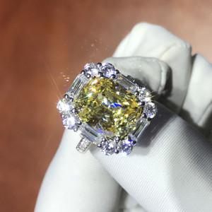 Neuester Luxus ForeverBeauty Retro Design Kissen Cut Synthetic 4CT Yellow Diamond Engagement für Hochzeit Dame Ring