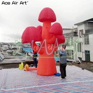 Modelo projetado agradável da árvore de cogumelo inflável, cogumelo ereto com luzes conduzidas para a decoração do partido e dos eventos
