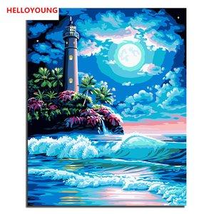 sayılar yağlı boya tablolar çin kaydırma resimlerinde tarafından Boyama Blue Dream Digital Boyama deniz DIY Handpainted Oil'de Gece sahne
