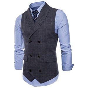 più nuovo vestito gilet uomo giacca senza maniche beige grigio marrone vintage gilet in tweed moda primavera autunno plus size gilet di alta qualità