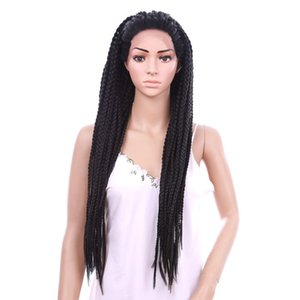 synthetic lace front wig Braided crochet box braids long Hair Wigs for women Adjustable Size 30inch 2x Twist Braids Wig