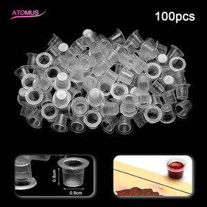100 stücke Kleine Größe Kunststoff Tattoo Ink Cups Für Permanent Tattoo Makeup Augenbrauen Make-Up Pigment Container Caps Einweg Zubehör