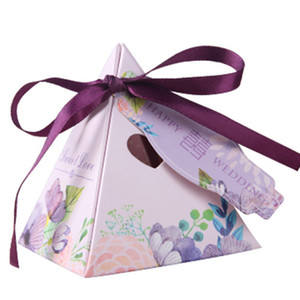 50 PCS / Lot 7x7x8cm European Triangle Candy Box Gift Party Supplies Chocolk Box Free Shipping