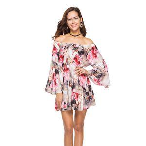 Off spalla Summer Beach Dress 2018 Floral Print Women Sexy Casual Ladies XS 3XL Plus Large Size Mini abiti Flare Sleeve Vendita