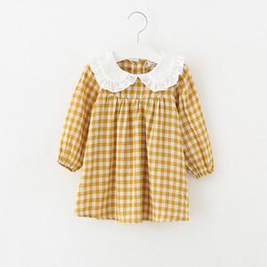 2018 Ins Stil Neuankömmlinge Mädchen Reizendes Kleid Rüschenkragen Langarm Plaid Print Kleid 100% Baumwolle Mädchen Kinder elegant ins Kleid