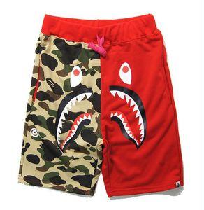 Moda macaco calções de praia camuflagem splicing banho impressão tubarão cabeça WGM Off Men lazer calças branco para o verão frete grátis