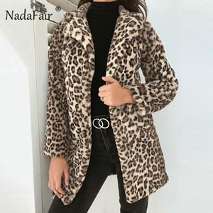 Nadafair 2018 moda stampa leopardo faux fur cappotto lungo donne inverno spesso caldo morbido rivestimento della peluche cappotti femminile tuta sportiva dell'annata