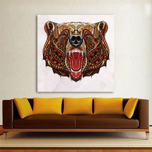1 PC modernas Animal lienzo pintura mural de arte colorido del arte del oso de cuadros decorativos para sala de estar Decoración Printings