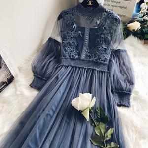 Freeship damas para mujer vintage linterna manga encaje bordado cuello alto vestido largo / greyblue / rosa / marfil / negro vestido de estilo medieval