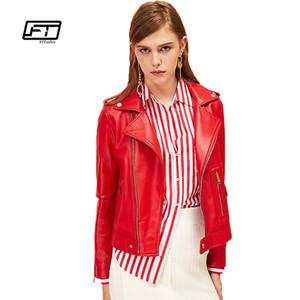 Fitaylor PU Lederjacke Damen Rot Schwarz Kunstleder Punk Outwear Motorrad Biker Bomber Spring Jacket