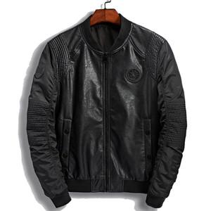 Новая Кожаная Куртка Мужчины Новый Бренд Осень Дизайнер Моды Стенд Воротник Пу Мотоциклетные Куртки Прохладный Зеленый Летающий Пилот Пальто 3xl