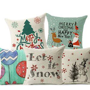 Let Let Kar Noel Tarzı Minder Örtüsü Mutlu Noeller! Noel Baba Çorap Balon Ev Dekoratif Yastıklar Kapak Nordic