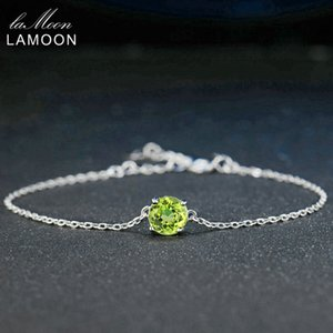 Lamoon 7mm Natural Round Cut Peridot 925 Sterling Silver Jewelry Chain Charm Pulsera S925 LMHI039Y1882701