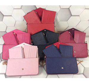 Nova Cadeia Bolsa de couro Lady Moda Bolsa de Ombro Cadeia de luxe clássico Mini Bag Jantar Telefone Wallet Card Pack bolsa de cor pura para as mulheres