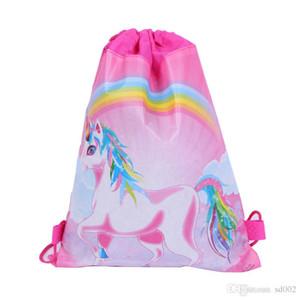 Нетканое полотно розовый потянув веревку пакет для хранения мультфильм милый Единорог дети плавание сумки многофункциональный шнурок сумка 1 4hj х