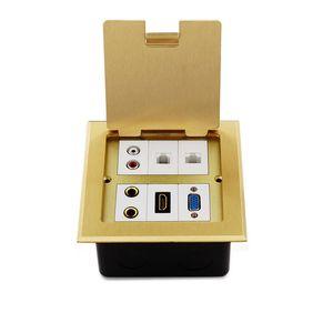 Тип установленный пол латуни мультимедиа VGA открытый-коробка выхода земных гнезд водоустойчивая 120mm x 120mm