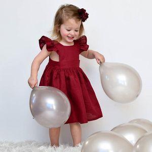 Neonate vestito manica Flutter INS bambini maniche volanti abiti principessa 2018 estate Boutique bambini Abbigliamento C3901