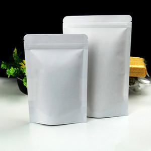 Bianco 50Pcs / Lot 10 * 15cm stand Bag Valve Zaino Up Kraft Doypack guarnizione termica Poly Zipper richiudibile partito