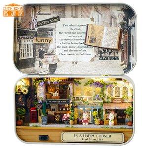 Casa diy casa de boneca wodden miniatura boneca casas kit caixa de móveis enigma montar dollhouse toys para presente das crianças q005