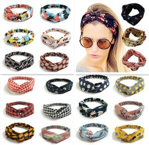 250 Farben Bunte Stirnband Elastische Kopfschal Twisted Geknotet ethnische Kopf Wrap Floral Wide Stretch Girls Haarschmuck TS001
