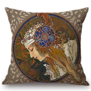 Vintage European Art Nouveau Mucha Gallery Decorative Sofa Pillow Cover Beautiful Beauty Girl Linen Luxury Cushion Cover Bedroom Decor