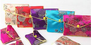 20 stücke 5 farben Floral Reißverschluss Geldbörse Tasche Kleine Geschenktüten für Schmuck Seide Tasche Chinesischen Kreditkarteninhaber display