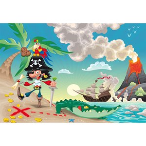 Cartoon Pirate Ship Telón de fondo azul cielo y mar Seaside Beach Palm Tree cocodrilo bebé niños Fiesta de cumpleaños Photo Booth Background