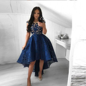 2019 Navy Blue Lace Short Prom Платья A Line Crew Neck High Low Party Коктейльные платья Homecoming Dresses Арабский Vestidos BC0183
