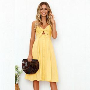 Mulheres Vestidos de Verão Tie Frente Com Decote Em V Spaghetti Strap Button Down A-Line Backless Balanço Midi Vestido 7 Estilos S-XL Frete Grátis